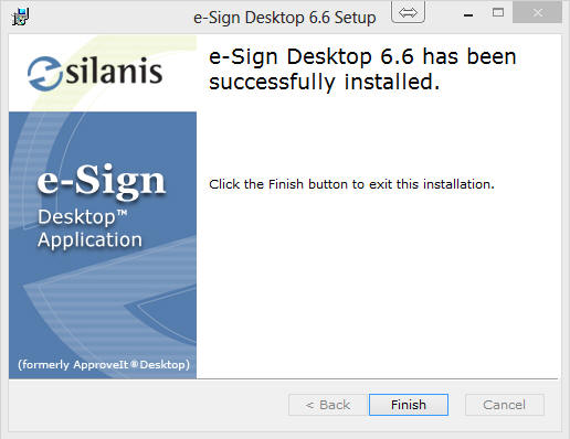 e-Sign 6.6 has been successfully installed image
